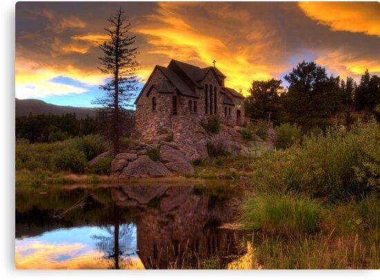 Sunset over St Malo Chapel near Estes Park, CO by Jeanne Frasse