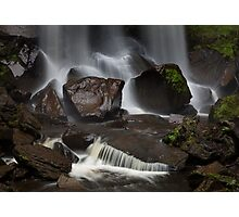 Wet stones and a waterfall Photographic Print