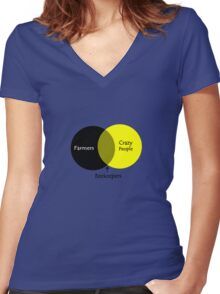 Beekeeping venn diagram geek funny nerd Women's Fitted V-Neck T-Shirt