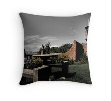 Table for Two, In a Garden by the Sea Throw Pillow