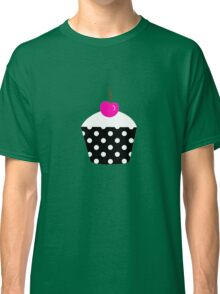 Black and white polka dot cupcake with pink cherry geek funny nerd Classic T-Shirt