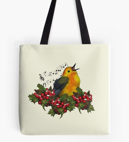 Christmas Holly with Singing Bird Tote Bag