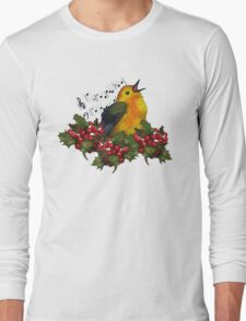 Christmas Holly with Singing Bird Long Sleeve T-Shirt