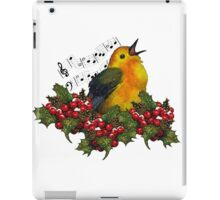 Christmas Holly with Singing Bird iPad Case/Skin