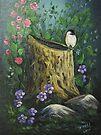 Chickadee On A Stump by teresa731