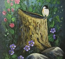 Chickadee On A Stump by teresa731