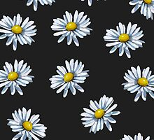 White Daisies on Black Background, Art by Joyce Geleynse