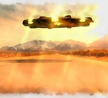 UFO Over Highway by Raphael Terra by esotericaart