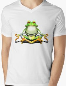 Meditating Frog Mens V-Neck T-Shirt
