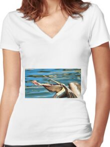 Big Mouth Pelican Women's Fitted V-Neck T-Shirt
