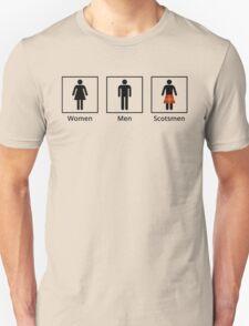 Women, Men, Scotsmen Humorous Toilet Signs Unisex T-Shirt
