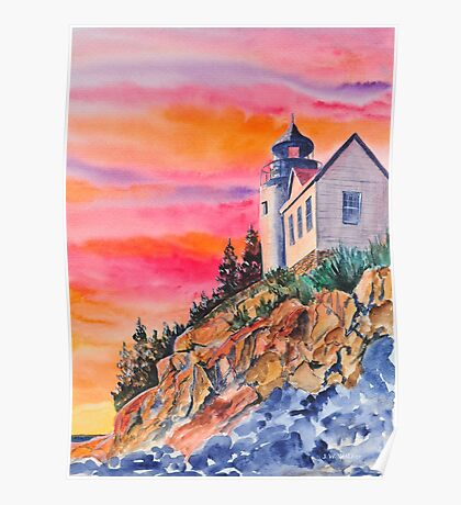 Bass Harbor Light Sunset Poster