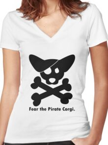 Corgi skull crossbones ladies geek funny nerd Women's Fitted V-Neck T-Shirt