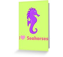Cute i love heart sehorses in purple and pink geek funny nerd Greeting Card