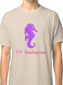 Cute i love heart sehorses in purple and pink geek funny nerd Classic T-Shirt
