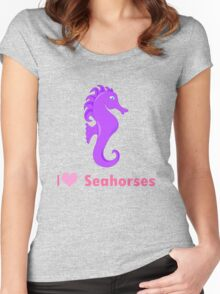 Cute i love heart sehorses in purple and pink geek funny nerd Women's Fitted Scoop T-Shirt