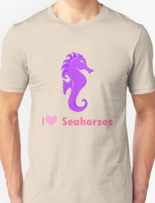 Cute i love heart sehorses in purple and pink geek funny nerd T-Shirt