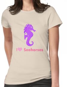 Cute i love heart sehorses in purple and pink geek funny nerd Womens Fitted T-Shirt