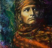 Chief of the Desert (Navajo) - Pop art style Native American portrait by jane lauren