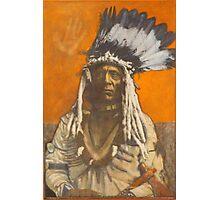 Weasel Tail - Pop art style Native American portrait Photographic Print