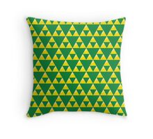 Green and Gold Zelda Inspired Triforce Throw Pillow