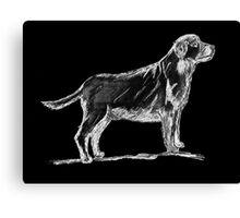 Standing dog sketch on black Canvas Print