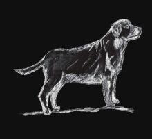 Standing dog sketch on black by JoAnnFineArt