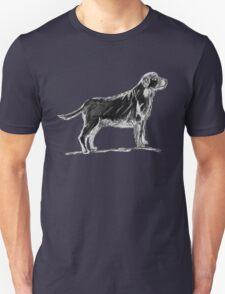 Standing dog sketch on black Unisex T-Shirt