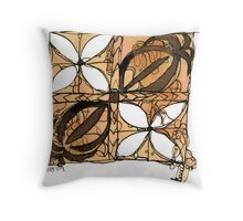 Tapa Flowers Throw Pillow