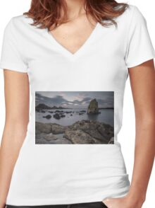 Ballintoy Sea Stack Women's Fitted V-Neck T-Shirt