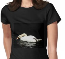 Demure Swan Womens Fitted T-Shirt