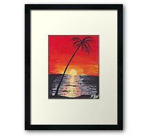 Beach Sunset Acrylic Painting Framed Print
