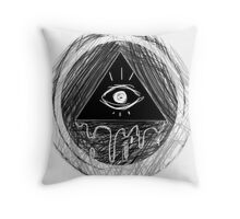 Creepy all seeing eye (Illuminati?) Throw Pillow