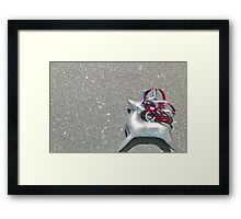 Christmas:  Red Ribbon Reindeer Framed Print