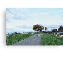 Crescent Beach landscape photography digital sketch. beautiful blue sky, green grasses and early fall yellow trees.  Canvas Print