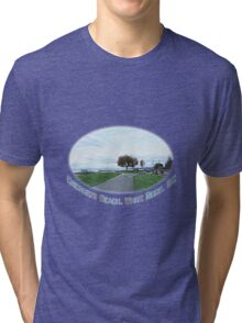 Crescent Beach landscape photography digital sketch. beautiful blue sky, green grasses and early fall yellow trees.  Tri-blend T-Shirt