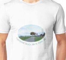 Crescent Beach landscape photography digital sketch. beautiful blue sky, green grasses and early fall yellow trees.  Unisex T-Shirt