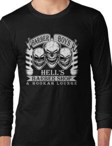 Barber Skulls: Hell's Barber Shop & Hookah Lounge Long Sleeve T-Shirt
