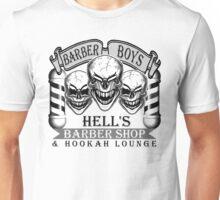 Barber Skulls: Hell's Barber Shop & Hookah Lounge Unisex T-Shirt