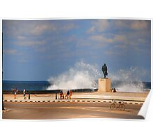 Waves on la Malecon Poster