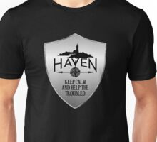 Haven Keep Calm Silver Badge Logo Unisex T-Shirt