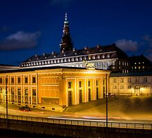 Night view on Christiansborg Palace in Copenhagen, DENMARK by Atanas Bozhikov NASKO