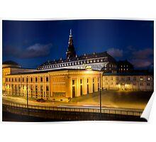 Night view on Christiansborg Palace in Copenhagen, DENMARK Poster