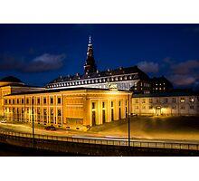 Night view on Christiansborg Palace in Copenhagen, DENMARK Photographic Print