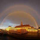 Double Rainbow over Christiansborg Palacethe Houses of Parliament in Copenhagen, Denmark by Bruno Beach
