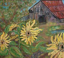 Sunflower Barn by Mikki Alhart
