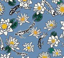 Pattern with koi carps and water flowers by monstreh