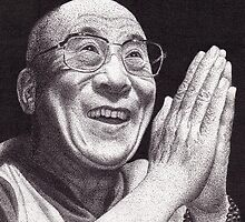 Dalai Lama, Ink Drawing by RIYAZ POCKETWALA