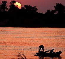 Man and Boy Fishing on the Nile by GBR309