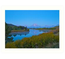 Oxbow Bend fall Sunrise Art Print